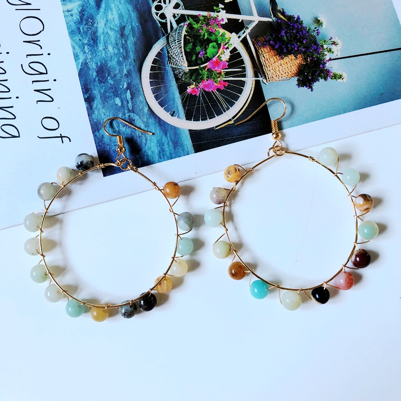free shipping handmade natural stone earrings