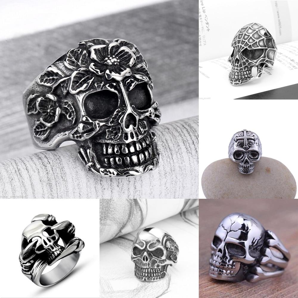 Nieuwe titanium stalen schedel hoofd ringen voor mannen gratis punk - Mode-sieraden