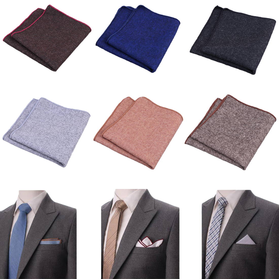 New Hankerchief Scarves Vintage Wool Hankies Men's Pocket Square Handkerchiefs Striped Solid Cotton 23*23cm