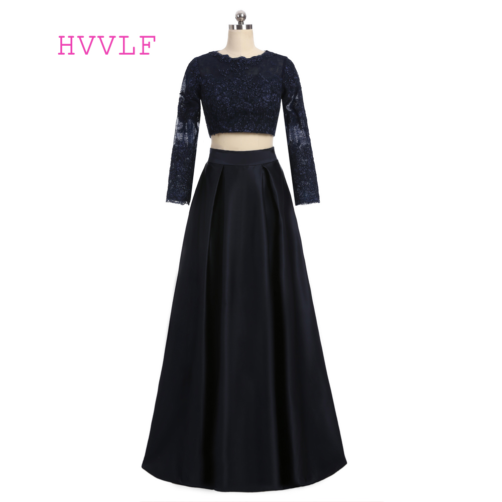Navy Blue 2019   Prom     Dresses   A-line High Collar Long Sleeves Lace Two Pieces Sexy Long   Prom   Gown Evening   Dresses   Evening Gown