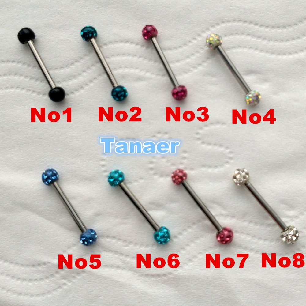 14g Surgical Steel Rubber Coverd Shamballa Tongue Ring