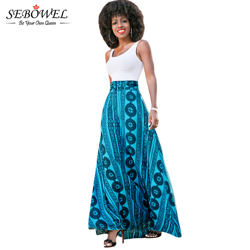 sebowel floor length summer bohemian skirt a line high