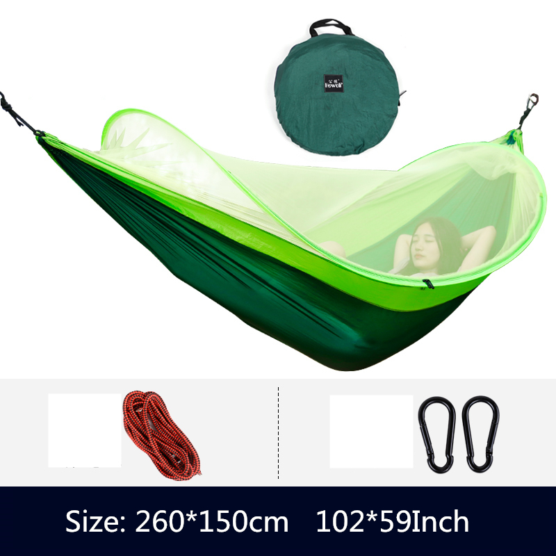 Image 4 - VILEAD Automatic unfolding Hammock Mosquito Stable Ultralight Portable Parachute Outdoor Camping Cot Sleeping Bed 260*150 cm-in Camping Cots from Sports & Entertainment