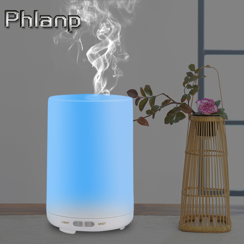 Phlanp Humidifier Ultrasonic Aroma Essential Oil Diffuser Air Humidifier Mist Maker 7 Colors LED light portable for Home Office crdc air humidifier ultrasonic 100ml aroma diffuser glass essential oil diffuser mist maker with 7 colors changing led light