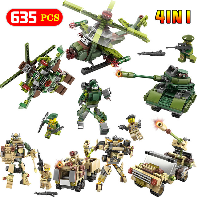 Mini Action Figures Building Blocks Green Tank Military Fighter Missile vehicle Technic Enlightening LegoINGLYS Toys For Kid