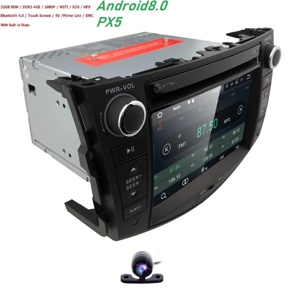 Lecteur DVD voiture stéréo 7'Android 8.0 autoradio lecteur CD Auto 2 din GPS pour Toyota RAV4 2006 2007 2008 2009 2010 2011 2012 Wifi SWC Navi
