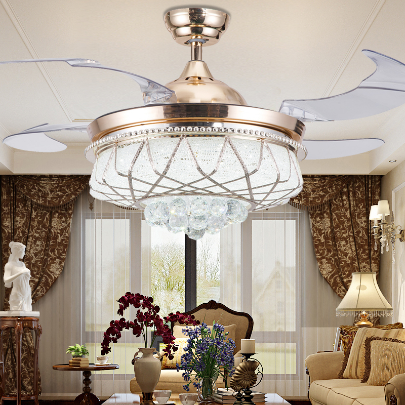 Ceiling Fans With Lights For Living Room: 42 Inch Modern LED Crystal Ceiling Fans With Lights Remote