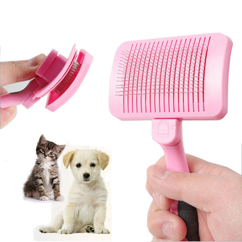 Pet Self Cleaning Steel Wire Comb Dogs Grooming Comb for Removing Loose Hair