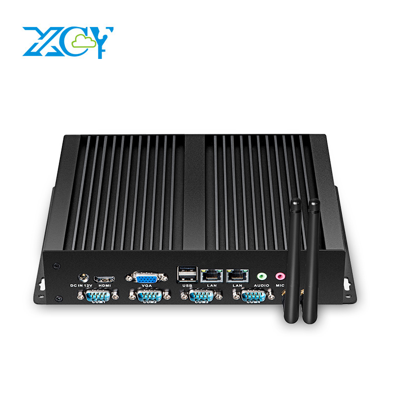 XCY Fanless Industrial Mini PC Intel Pentium 2117U 4xRS232 COM 8*USB Dual Ethernet LAN HDMI VGA WiFi Windows Linux