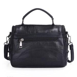 Image 3 - JIEROTYX sac à main en cuir de mouton véritable pour femmes, sacoche à bandoulière à rivets, crâne, fourre tout pour voyage, gothique noir