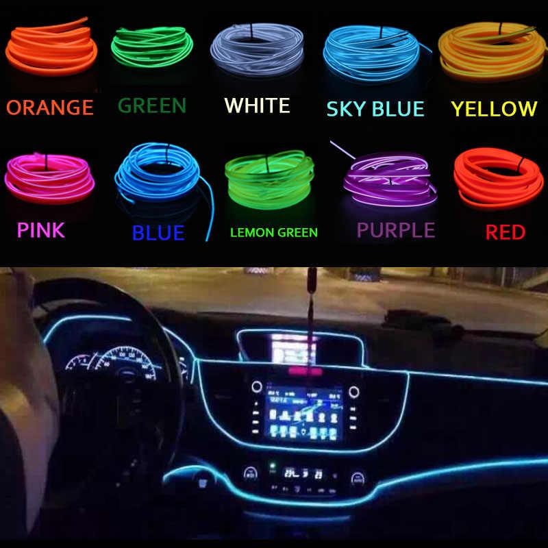 EL Cable de cuerda de Flash Cable LED tira Flexible lámpara de neón Luz de cadena brillante para decoración de coche con 8mm Borde de costura estilo de coche