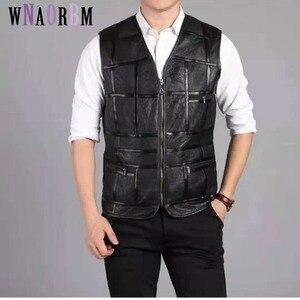 Мода 2020, майка мужская, жилет из овчины, кожаный жилет, мужской костюм, кожаная куртка, утепленная