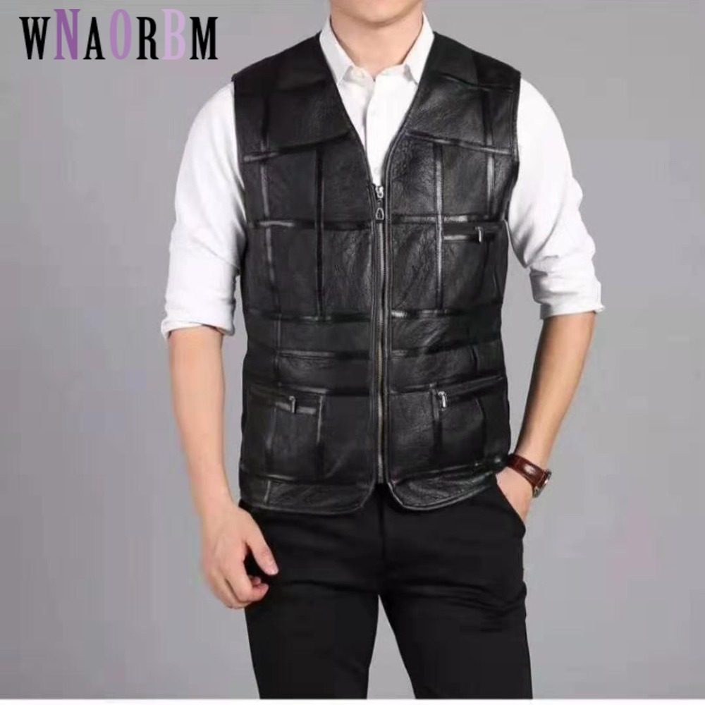 2021 New fashion,tank top men,real sheepskin vest,leather vest,men's suit,leather jacket,thickening,inch to be customized