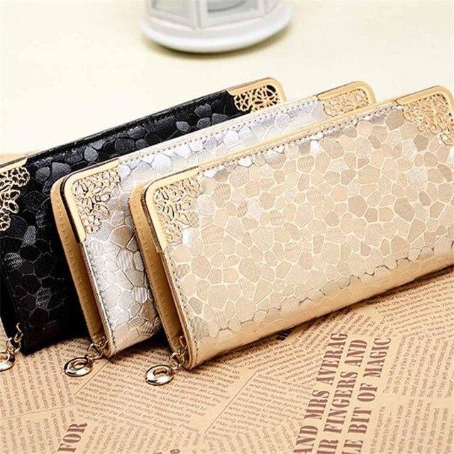 Новинка 2016 женские кошельки и сумки девушки известные бренды длинные женские кожаные кошелек женский вечерние клатчи держателя карты