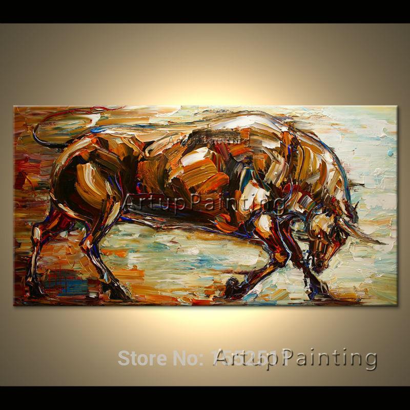 Moderne popkunst dekorative billeder abstrakte dyr tyr olie malerier - Indretning af hjemmet - Foto 1