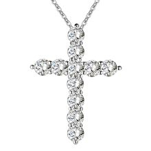 silver color necklace jewelry women wedding fashion Cross CZ crystal Zircon stone pendant necklace Christmas gift n296(China)