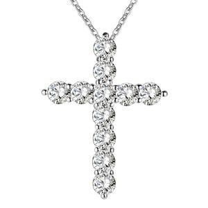 Cor de prata colar de jóias mulheres moda casamento cruz cz cristal zircão pedra pingente colar presente natal n296