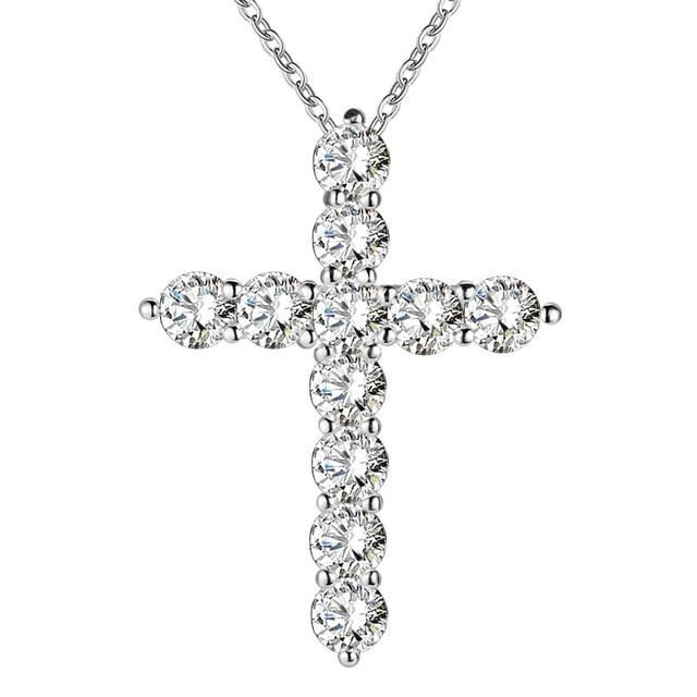 כסף צבע שרשרת תכשיטי נשים חתונה אופנה צלב CZ קריסטל זירקון אבן תליון שרשרת חג המולד מתנה n296