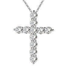 Collier couleur argent bijoux femmes mariage mode croix CZ cristal Zircon pierre pendentif collier cadeau de noël n296