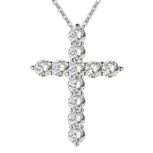 silver color necklace jewelry women wedding fashion Cross CZ crystal Zircon stone pendant necklace Christmas gift