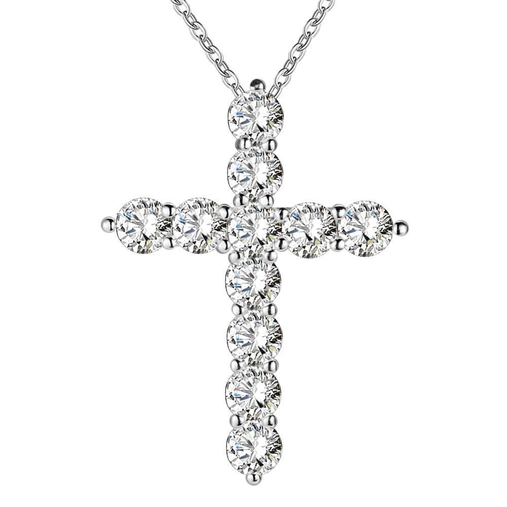 silver plated necklace font b jewelry b font women wedding fashion Cross CZ crystal Zircon stone