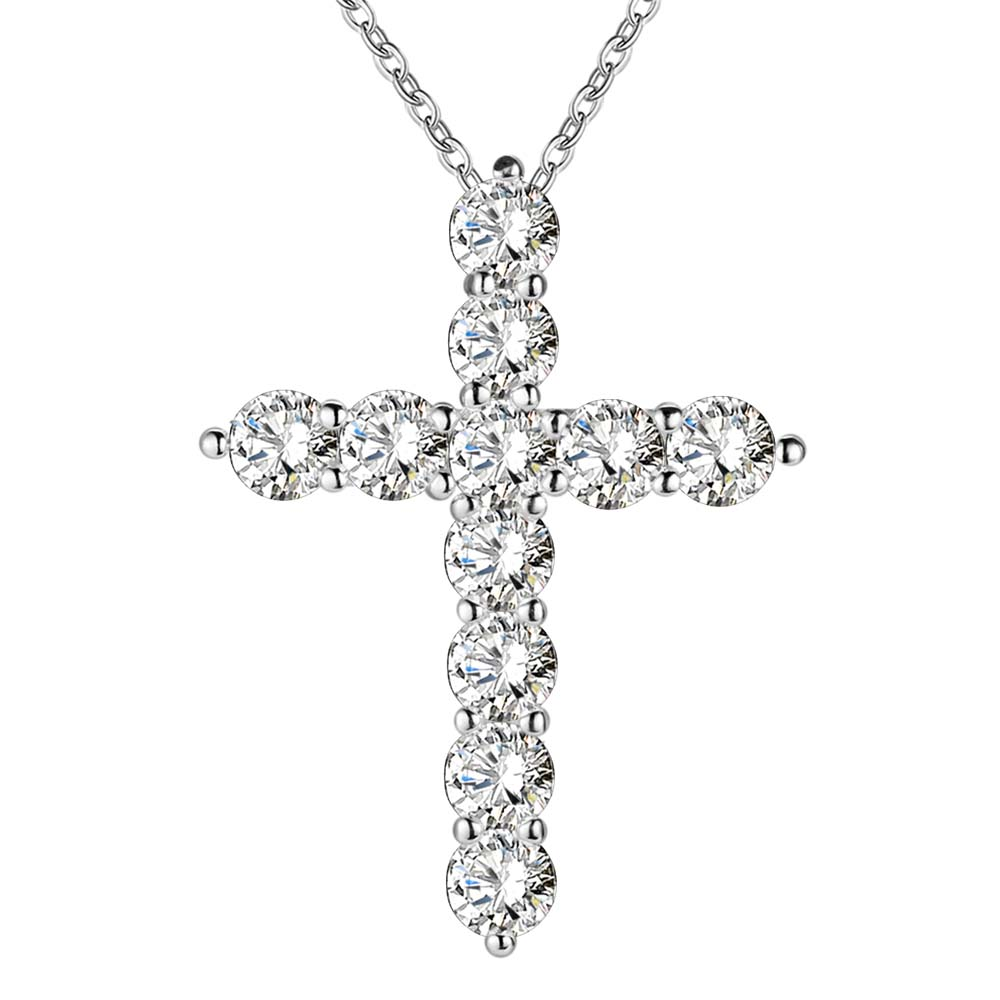 silver plated necklace jewelry women wedding fashion Cross CZ crystal Zircon stone pendant necklace Christmas gift n296
