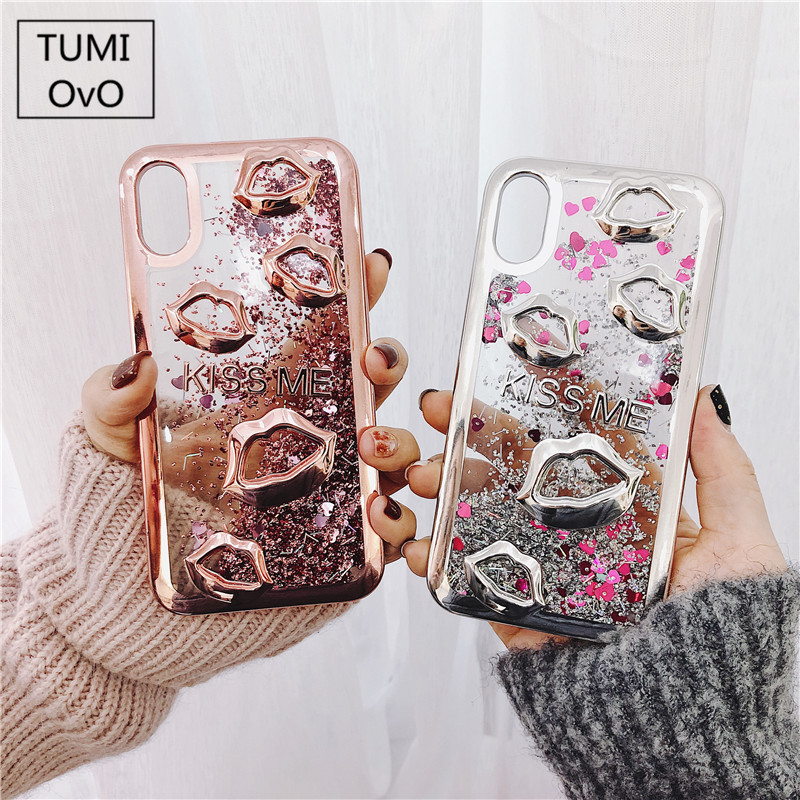 Electroplate lips Dynamic Liquid Quicksand Phone Case For Samsung S8 Plus J1 J3 J5 <font><b>J7</b></font> 2015 <font><b>2016</b></font> 2017 J2 J5 <font><b>J7</b></font> Prime Back Cases image