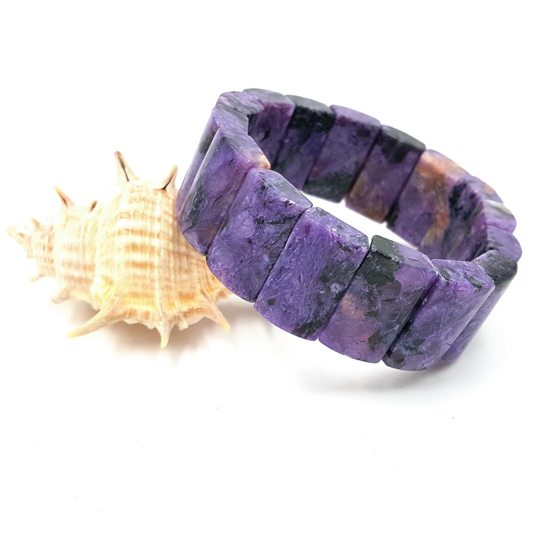 Lii Ji Unique pierre naturelle violet Charoite Bracelet environ 12x20x7mm pour les femmes bijoux de mode