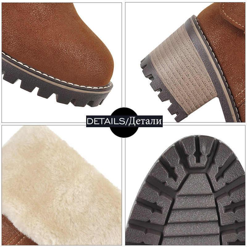 WETKISS Kalın Yüksek Topuklu yarım çizmeler Kadın Kar Patik Sıcak Kadın Zip platform ayakkabılar Su Geçirmez Ayakkabı Bayanlar Kış 2019 Yeni