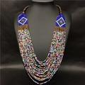 Bohemia de la manera Hecha A Mano Collar Multicolor Collar de Perlas Africanas Joyería de Múltiples Capas de Perlas Declaración Collar Pendiente de La Vendimia