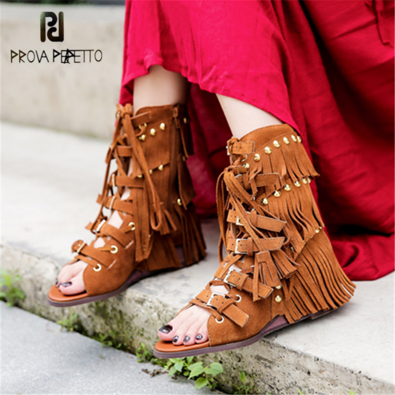Prova Perfetto En Daim Frangé Sandales Femmes D'été Bottes Sangles Gladiateur Sandale Rivets Clouté Hauteur croissante Wedge Chaussures
