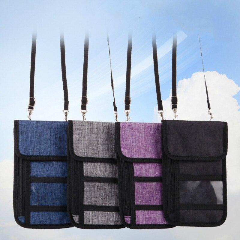 Anti-Theft Travel Passport Neck Bag Multifunction RFID Phone Wallet Pouch Hanging Passport Bag