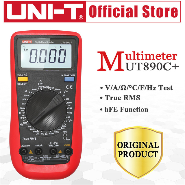UNI-T UT890C+ True RMS Multimeter LCD Digital Display Electrical Tools Handheld Ohm AC/DC Voltage Current Tester Free Shipping