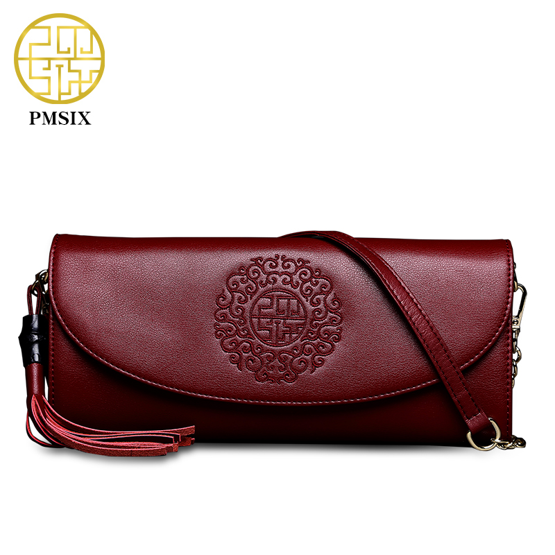 ФОТО Pmsix New Fashion Embroidery Women Leather Day Clutch Cattle Split Leather Chain Tassel Red Ladies Handbag Shoulder Bag P420037