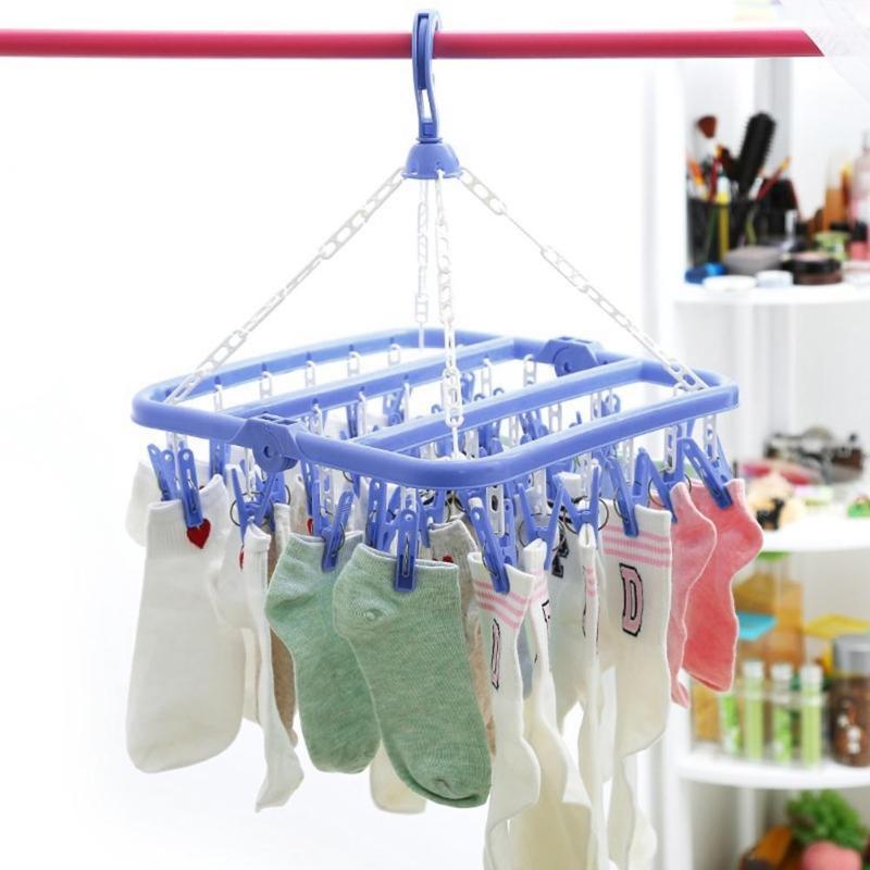 32 Clips Folding Socks Clothes Hanger Rack Clothespin Clothes Drying Rack Closet Wardrobe Organizer Blue/Green/Pink