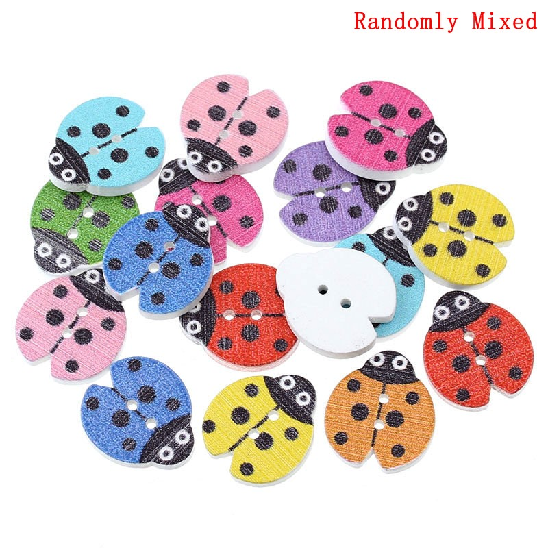 "DoreenBeads Wood Sewing Button Scrapbooking Ladybug Mixed Two Holes 18.0mm( 6/8"") x 16.0mm( 5/8""), 15 PCs 2015 new"