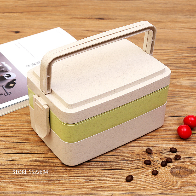 Stackable Lunch Bento Box with Fork Reusable Bento Lunchbox Large Size Food Container Durable Meal Prep