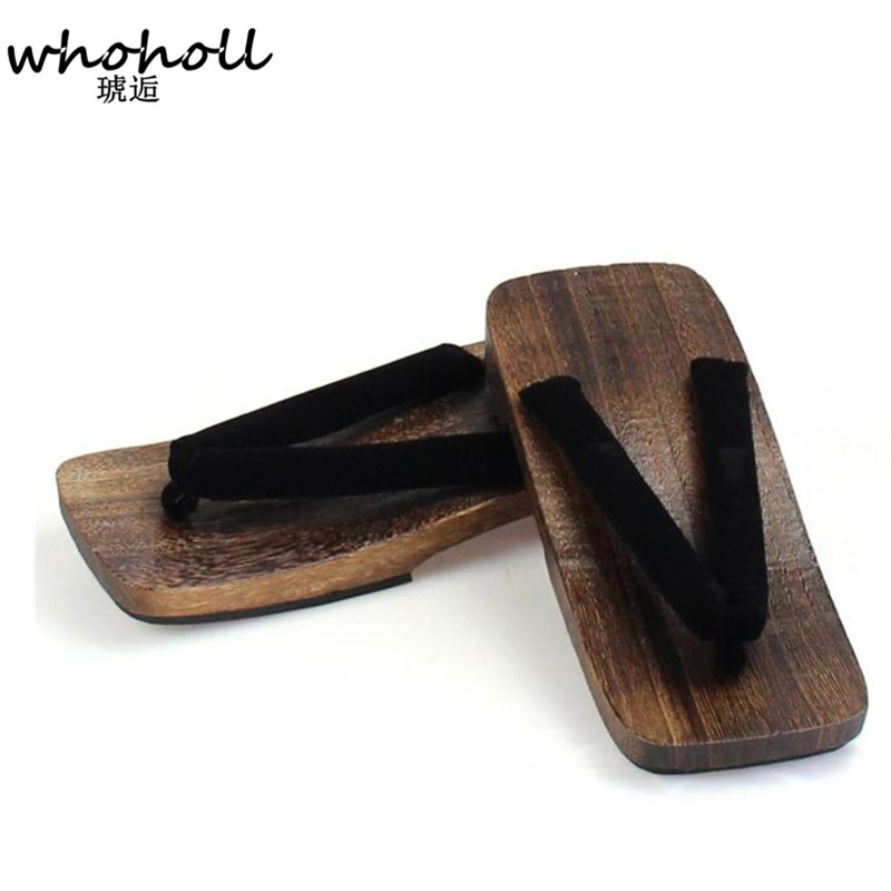 WHOHOLL flip-flops for Men sandals summer Japanese geta clogs shoes platform wooden slippers paulownia sandalias hombre