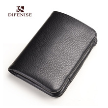 Difenise Brand Luxury Business Men's wallets Vegetable Tanned Genuine Leather Hasp Men's Standard Wallets Black and Coffee