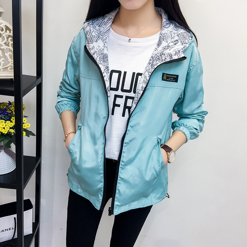 Women Jacket Coats wear on both sides New Spring Summer High Quality Casual Cute Color Hooded  Jacket Outerwear