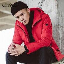 Gersri New Winter Warm Thicken Zipper Coats Mens Hooded Parkas Casual Male Slim Multi-Pockets Overcoat Jackets