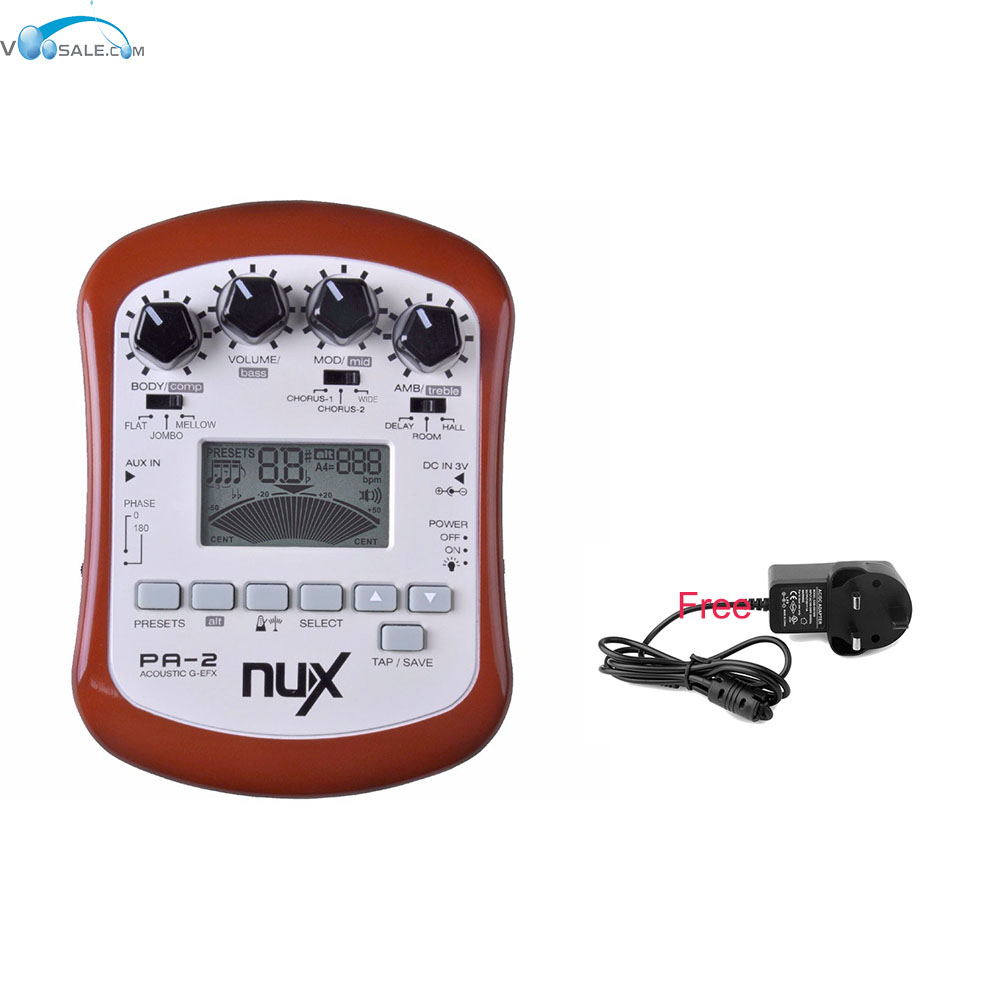 NUX PA-2 Portable Acoustic Guitar Effect Pedal Flat Tuning Function+Free US/AU/EU/UK Plug Adapter autoeye cctv camera power adapter dc12v 1a 2a 3a 5a ahd camera power supply eu us uk au plug