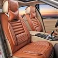 Almofada do Assento de carro Quatro Estações 2 Travesseiros Como Presente de Alta Qualidade Bordado Danny Couro assento de Carro Universal Tampa de Assento Do Carro de Luxo assento