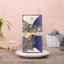 50pcs Blue Laser Cut Wedding Invitations Card Rose Heart Greeting Cards Customize Envelopes with Ribbon Party Supplies