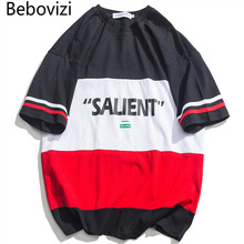 Bebovizi T Shirt Men Printed Men's Tee Shirts Color Block Patchwork T Shirt Fashion Hip Hop Tees Summer Streetwear Oversize color block single pocket t shirt