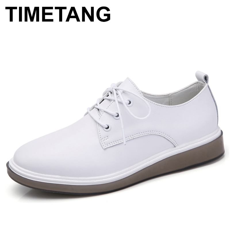 TIMETANG 2018 Spring women oxford shoes ballerina flats shoes women genuine Leather lace up boat shoes moccasins loafers C274 girls fashion punk shoes woman spring flats footwear lace up oxford women gold silver loafers boat shoes big size 35 43 s 18