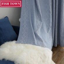 FISH TOWN Decorative Window Drapes Simple  Jacquard Curtains European Modern Curtains/Rideau Room/Bedroom/Livingroom