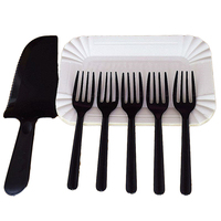 Disposable Tableware Disposable White Paper Plate Black Knife Fork Birthday Party Decorations Kids Adult Party Supplies