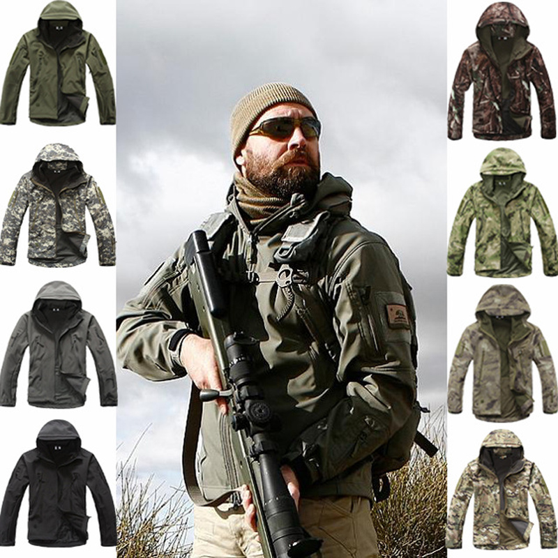 Outdoor Sport Softshell TAD Tactical Jacket Sets Men Camouflage Hunting Clothes Military Coats For Camping Hiking Hooded Jacket(China)