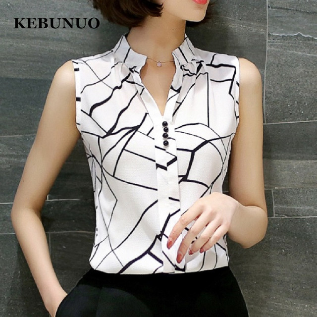 d15193a8 2017 New Summer Women Tops Casual Sleeveless V-Neck Fashion Women Blouse  Shirt Chiffon Print Blouses Ladies Blusas S-XXL White